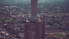 Vista aerea del primo piano della statua di Chist a Murcia, Spagna video d archivio