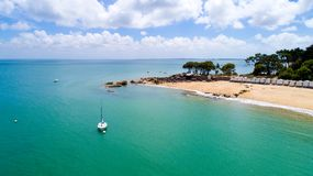 Vista aerea del punto in Dame del DES del flocculo della La, isola del Saint Pierre di Noirmoutier Immagine Stock
