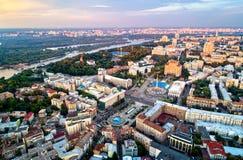 Vista aerea del quadrato di indipendenza - Maidan Nezalezhnosti ed altri punti di riferimento a Kiev, Ucraina Fotografia Stock Libera da Diritti