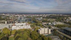 Vista aerea del quarto europeo, del Consiglio d'Europa e del Parlamento Europeo a Strasburgo, Francia immagini stock