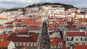 Vista aerea del rua Augusta Lisbon, Portogallo video d archivio