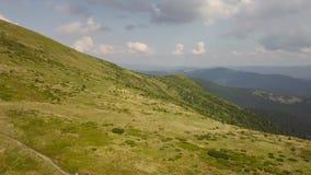 Vista aerea del sentiero per pedoni nelle montagne carpatiche video d archivio