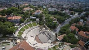 Vista aerea del teatro romano antico, Filippopoli, Bulgaria Immagini Stock