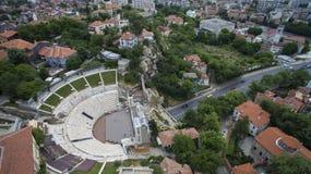 Vista aerea del teatro romano antico, Filippopoli, Bulgaria fotografia stock