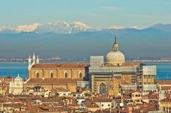 Vista aerea del teleobiettivo di Venezia dalla chiesa di San Giorgio Maggiore Immagine Stock Libera da Diritti