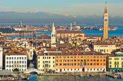 Vista aerea del teleobiettivo di Venezia dalla chiesa di San Giorgio Maggiore Immagine Stock