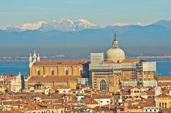 Vista aerea del teleobiettivo di Venezia dalla chiesa di San Giorgio Maggiore Immagini Stock Libere da Diritti