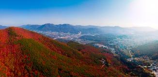 Vista aerea del tempio di Beomeosa nel Sud Corea di Busan L'immagine consiste del tempio situato fra la montagna coperta di vario fotografia stock libera da diritti