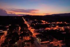 Vista aerea del tramonto fantastico in campagna immagini stock libere da diritti