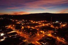 Vista aerea del tramonto fantastico in campagna immagine stock libera da diritti