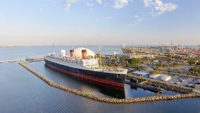 Vista aerea del transatlantico di RMS Queen Mary, Long Beach, CA Fotografia Stock
