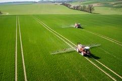 Vista aerea del trattore fotografia stock libera da diritti