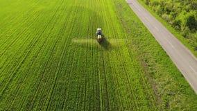 Vista aerea del trattore agricolo che spruzza sul campo con lo spruzzatore, i diserbanti e gli antiparassitari al tramonto Attrez stock footage