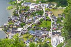 Vista aerea del villaggio di Hallstatt in alpi, Austria Immagine Stock Libera da Diritti