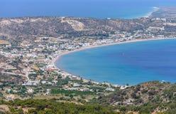 Vista aerea del villaggio di Kefalos fotografia stock