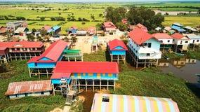 Vista aerea del villaggio di traditionnal in Siem Reap, Cambogia immagine stock