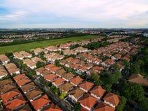Vista aerea del villaggio domestico e di ambientale verde a Bangkok t Fotografia Stock Libera da Diritti