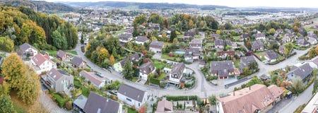 Vista aerea del villaggio rurale dell'Europa centrale Fotografia Stock Libera da Diritti