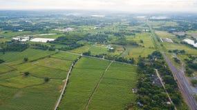 Vista aerea dell'alloggio con l'agricoltura o il agri tipica del riso Fotografia Stock Libera da Diritti