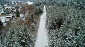 Vista aerea dell'automobile che si muove nella foresta di inverno video d archivio
