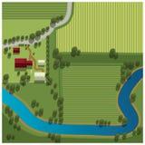 Vista aerea dell'azienda agricola Immagine Stock Libera da Diritti