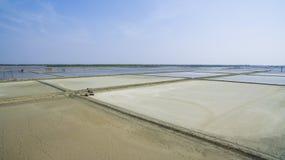 Vista aerea dell'azienda agricola del salf nella provincia Tailandia del samuthsongkram Fotografia Stock