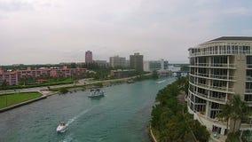 Vista aerea dell'entrata costiera stock footage