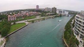 Vista aerea dell'entrata costiera video d archivio