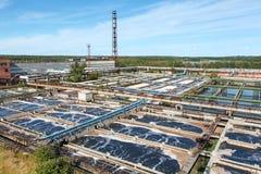 Vista aerea dell'impianto di per il trattamento dell'acqua in legno Immagini Stock