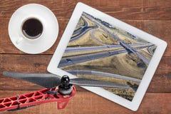 Vista aerea dell'intersezione dell'autostrada senza pedaggio Fotografia Stock Libera da Diritti