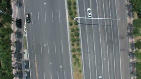 Vista aerea dell'intersezione di traffico a Nanchino, porcellana archivi video