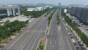 Vista aerea dell'intersezione di traffico a Nanchino, porcellana video d archivio