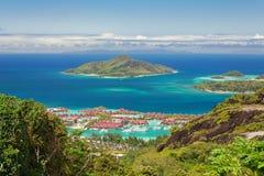 Vista aerea dell'isola dell'Eden, Mahe, Seychelles Fotografia Stock