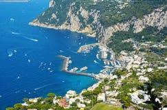 Vista aerea dell'isola di Capri, Italia Fotografia Stock Libera da Diritti