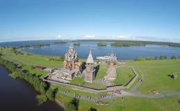 Vista aerea dell'isola di Kizhi immagini stock libere da diritti