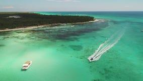 Vista aerea dell'isola di Saona, Repubblica dominicana Paesaggio tropicale con le palme ed il mare caraibico stock footage