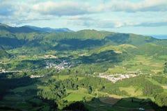 Vista aerea dell'isola vulcanica di São Miguel Fotografia Stock Libera da Diritti