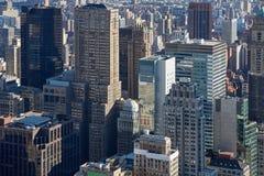Vista aerea dell'orizzonte di New York Manhattan con i grattacieli Fotografia Stock Libera da Diritti