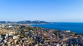 Vista aerea della baia di Endoume nella città di Marsiglia Immagini Stock Libere da Diritti
