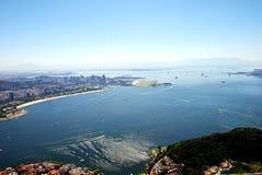 Vista aerea della baia di Guanabara immagine stock