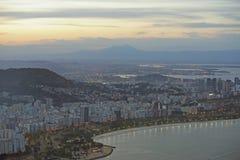 Vista aerea della baia e di Botafogo di Guanbara Fotografia Stock