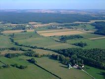 Vista aerea della campagna francese Yonne del nord fotografia stock libera da diritti