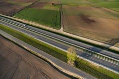 Vista aerea della campagna lituana alla sorgente Fotografie Stock Libere da Diritti