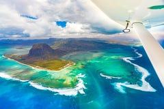 Vista aerea della cascata subacquea mauritius Fotografia Stock Libera da Diritti