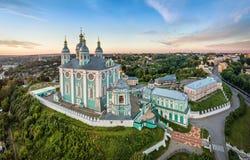 Vista aerea della cattedrale di Uspenskiy a Smolensk Fotografia Stock