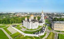 Vista aerea della cattedrale di Uspenskiy in Vladimir Fotografie Stock Libere da Diritti