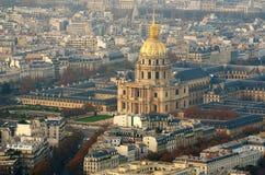 Vista aerea della chiesa di Les Invalides a Parigi Fotografia Stock