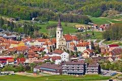 Vista aerea della chiesa di Marija Bistrica fotografia stock