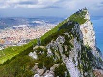 Vista aerea della cima della roccia di Gibilterra Fotografia Stock Libera da Diritti