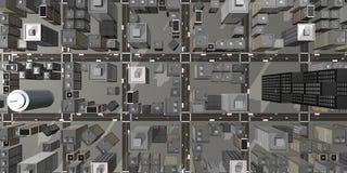 Vista aerea della città 3D Immagine Stock